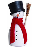 1 wood plug Snowman with broom and scarf