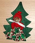Magnet, Santa Mädchen an einem Baum, 9 cm
