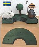 Deko-Halbkranz 3 Löcher, dunkelgrün