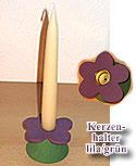 1 candle holder flower lila/green