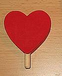 1 wood plug big heart, red