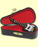 E- guitar mini black in a suitcase, h 8 cm