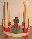 1 Holzstecker gr. Tulpe 2-blättrig, rot