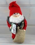 großer, schwedischer Weihnachtsmann mit Geschenk und Sack, H 19 cm