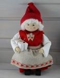 Butticki Frau Santa mit Geschenke weiß/rot, H 21 cm
