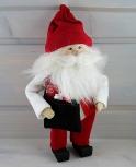 Butticki großer Weihnachtsmann mit Geschenketasche u. weißem Bart, weiß/rot, H 21 cm