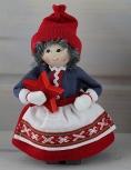 Butticki Santa girl with red star, red/white, 14 cm