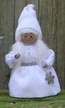 Butticki Weihnachtsfrau mit silbernem Stern, weiß, H 14 cm, EINZELSTÜCK