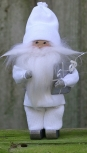 Butticki Weihnachtsmann mit weißem Bart, weiß, H 14 cm