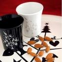 Rotor 2er Set weiße Tassen mit silbernem Weihnachtsbaum