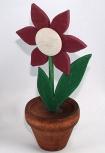 Blumentopf mit schwedischer Blume dunkelrot, ohne Holzdübel, EINZELSTÜCK