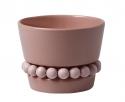 Aarikka kleiner Keramiktopf / Blumentopf mit Holzkugelkette, rosa, 8,5 cm, Ø 11 cm.