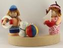Strand Wasserball mit Handtuch und Muschel, H 4 cm