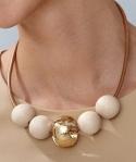 Aarikka Metsä necklace white/gold,  l 50 cm