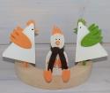 1 Holzstecker Dreieck Hahn weiß/helles orange