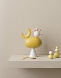Aarikka großer Hahn KUKKU Tischdekoration, H 21 cm, gelb/rosé/weiß