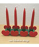Swedish dark green candle holder with red hearts, Valentin present
