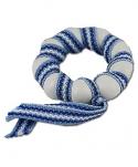 1 schwedischer, kleiner Kerzenring / Serviettenring, weiß/hellblau, d 3,5 cm