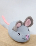 1 wooden mouse light grey for candlerings, 6 mm wood plug