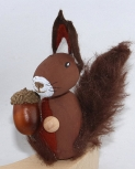 1 Holzfigur Eichhörnchen dunkelbraun für Holzkränze, 6 mm Holzdübel