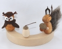 1 wooden figure owl light brown for candlerings, 6 mm wood plug