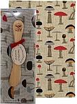 Present set mushroom laser cut butterknife, Kitchen towel beige/coloured