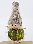Autumn pumpkin gnome green with knitting cap beige, h 9,5 cm