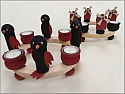 Sebastian design large bird/ penguin black/red, h 9,5 cm