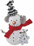 Big Snowman with snow flake, red scarf and knitted cap, H 11 cm, for candlerings