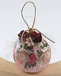 Christmas bauble rosé decorated, h 5 cm
