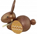 1 wooden Easter hare sitting with a loop, egg, goldbrown metallic