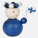 Aarikka SUOMINETO finish maiden blue with a flag, h 7 cm