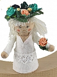 midsommar flower child white with a blossom ring, H 7 cm, candlering figure