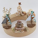Under water world - stump with shells, pearl, coral, hight 4,5 cm