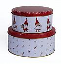 Det Gamle Apotek 2 tins gnoms, white/red,20 + 17 cm