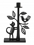 Bengt & Lotta THE CAT AND THE TREE medium candle holder, black, h 25 cm