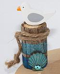 1 small seagull on a big bollard with blue stripes, hight 8 cm
