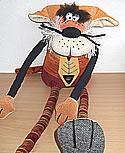 Riesen Stofftier rote Katze, Dekoobjekt, H 75 cm