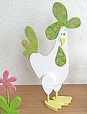 1 Talvel Huhn stehend weiß / hellgrün, H 22 cm