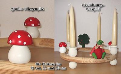 1 wood plug big Mushroom, red