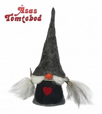 Swedish gnome Viktoria grey cap, h 20 cm