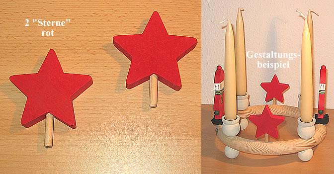 1 wood plug big star, red