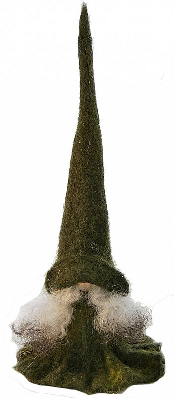 Åsas Tomtebod swedish felt Tomte Tova with felt cap green, h 25 cm