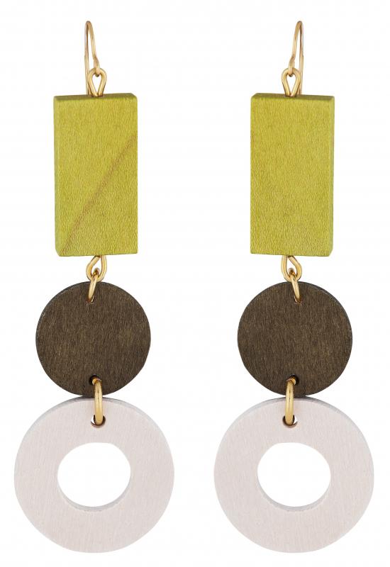 Aarikka Penelope earrings Meadow green/Gold, Length 9,5 cm