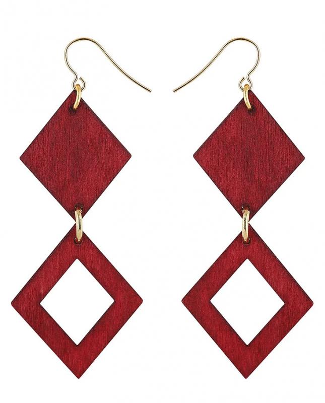 Aarikka Triangeli earrings winter vine red/gold, Length 7,5 cm