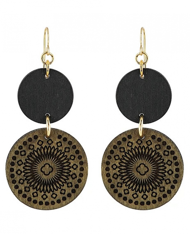 Aarikka Amuletti earrings winter moss green/gold, Length 7 cm