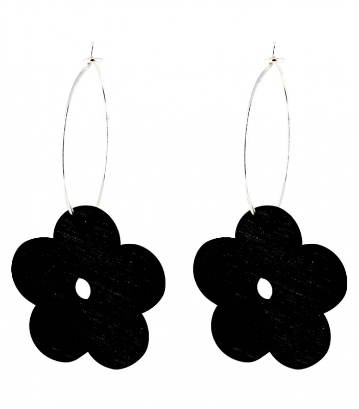 Aarikka Lemikki earrings black, Length 4,5 cm