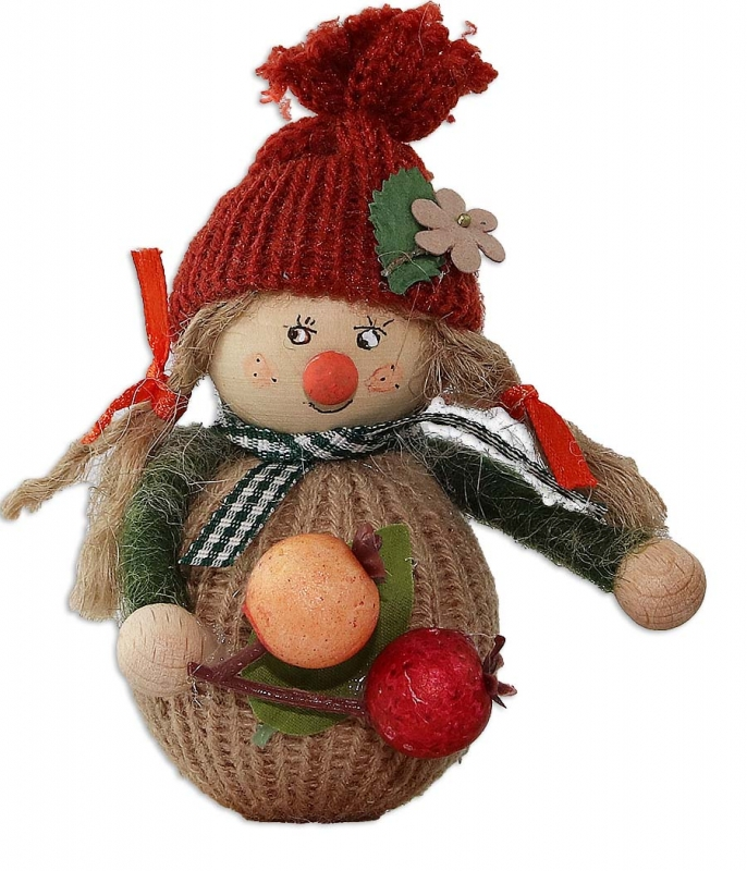 Autumn girl with knitwear beige/red brown, h 10 cm