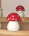 1 wood plug big Mushroom, red