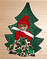 magnet, Santa girl on a tree, 9 cm